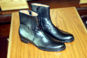 New Handmade Custom Men Simple Zipup Leather Boots with Leather sole