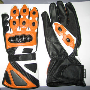 Custom Handmade Men Motorcycle Leather Gloves, Men Gloves, Biker Gloves Orange