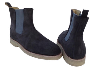 New Handmade Mens Dark Grey Chelsea Suede Leather Boots, Men suede leather boot