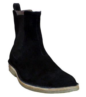 New Handmade Mens Black Chelsea Suede Leather Boots with Crepe Sole, Men Boots