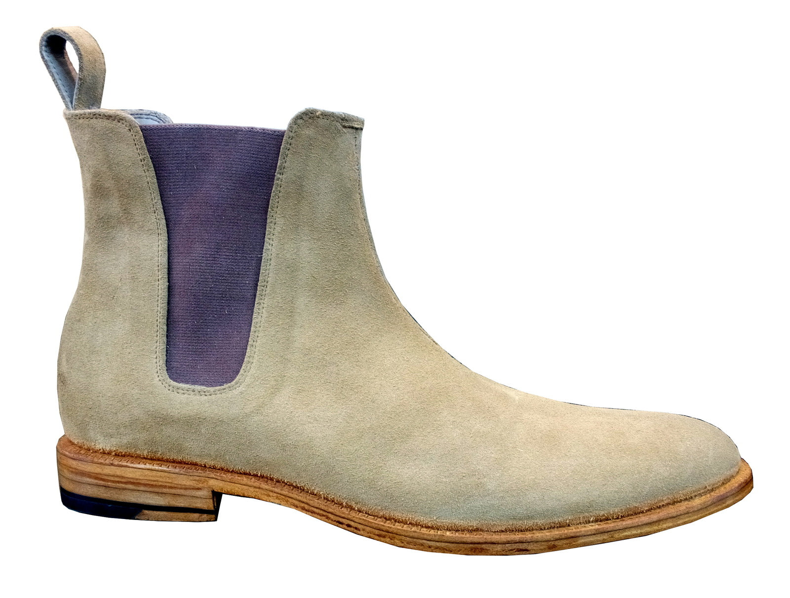 New Handmade Mens Light Brown Chelsea Suede Leather Boots,Men suede leather boot