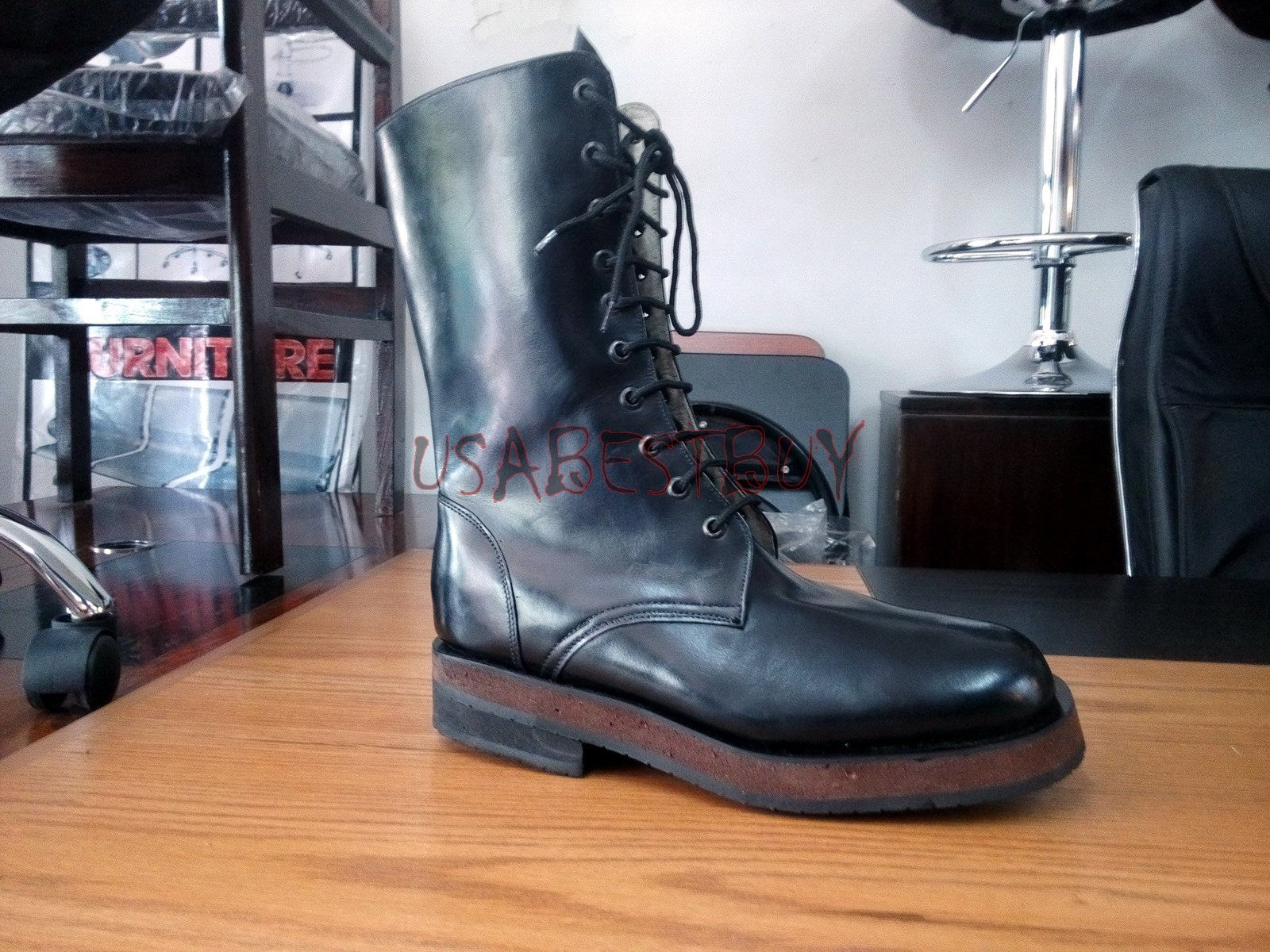 New Handmade Mens Military Style Superb Long Leather Boots, Combat Boots