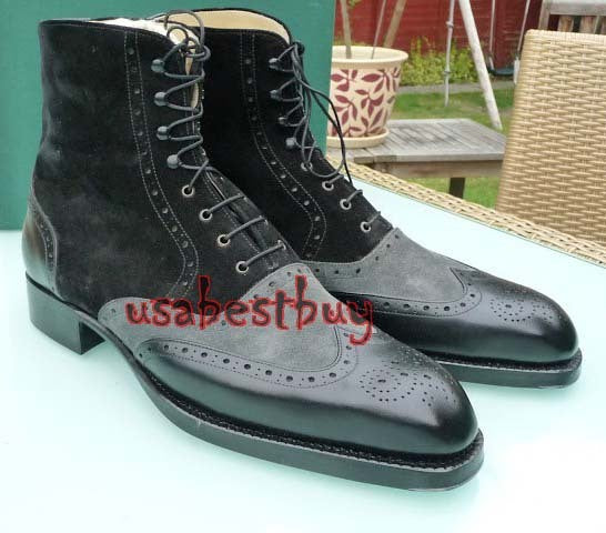 New Handmade Wingtip Latest Style Suede and Calf Leather Boots, Men Black boots