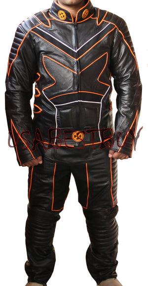 Custom Handmade Motorcycle Leather Xmen Style Suit in Black Color Padded