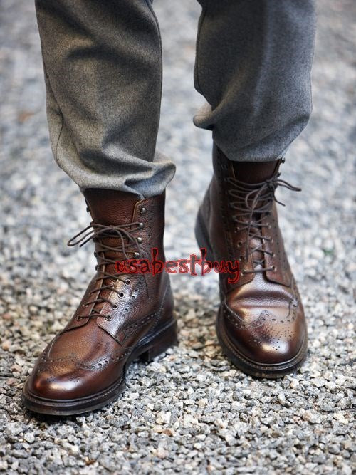 Custom Handmade Men Brogue Style Real Brown Leather Ankle Boots, Leather boots