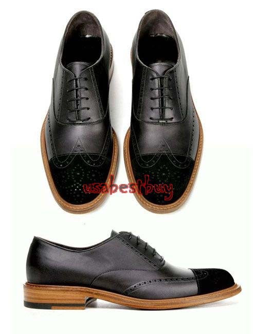 New Handmade Unique Style Black Genuine Leather Shoes, Men leather Shoes Lace
