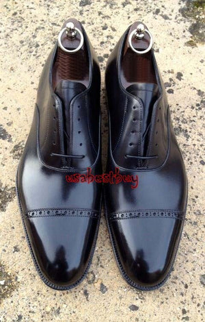 New Handmade Latest Stylish Black Genuine Leather Shoes, Men leather Dress Shoes