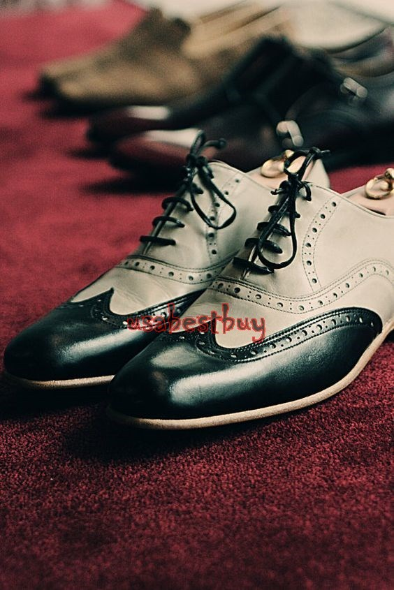 New Handmade Brogue Style Black & Off White Leather Shoes, Men leather shoes
