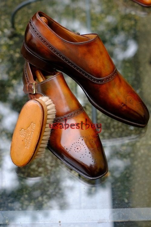 New Handmade Monk in Brogue Style Brown Leather Shoes, Men leather Shoes Monk