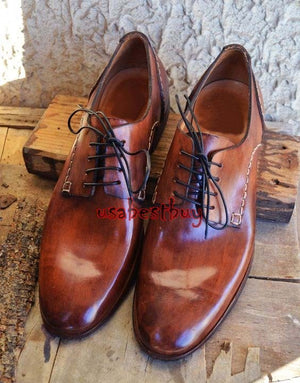 New Handmade Round Stylish Brown Genuine Leather Shoes, Men leather Dress Shoes