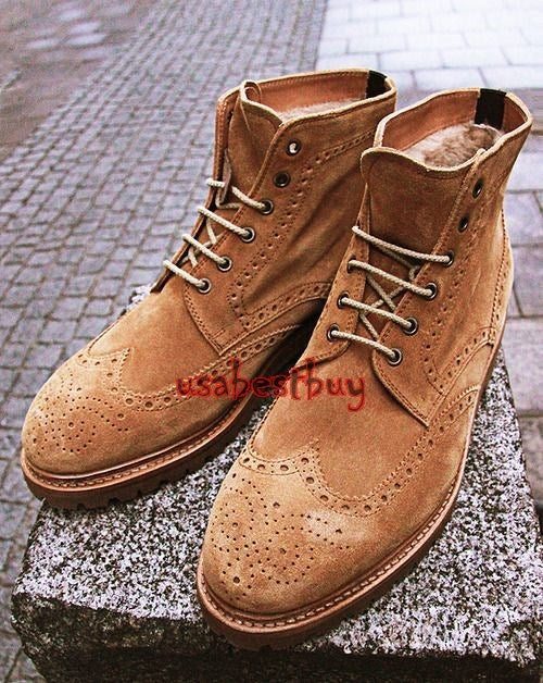 Custom Handmade Men Brogue Style Real Brown Suede Leather Ankle Boots, men boots