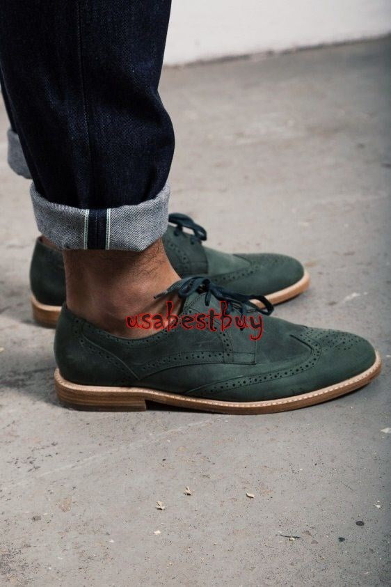 Custom Handmade Unique Style Green Suede Leather Shoes, Men leather Shoe Laces