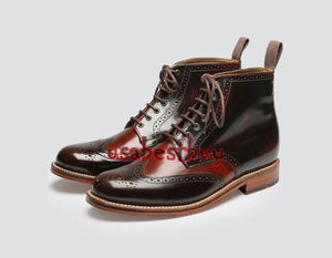 Custom Handmade Men Brogue Style Brown Leather Ankle Boots, Men Leather boots