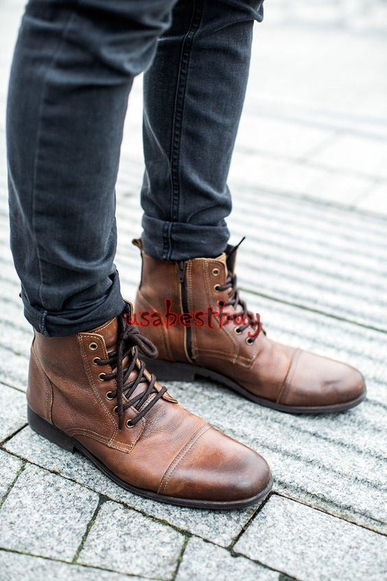 New Handmade Round Style Zipup and Laces Leather Boots with Leather Sole