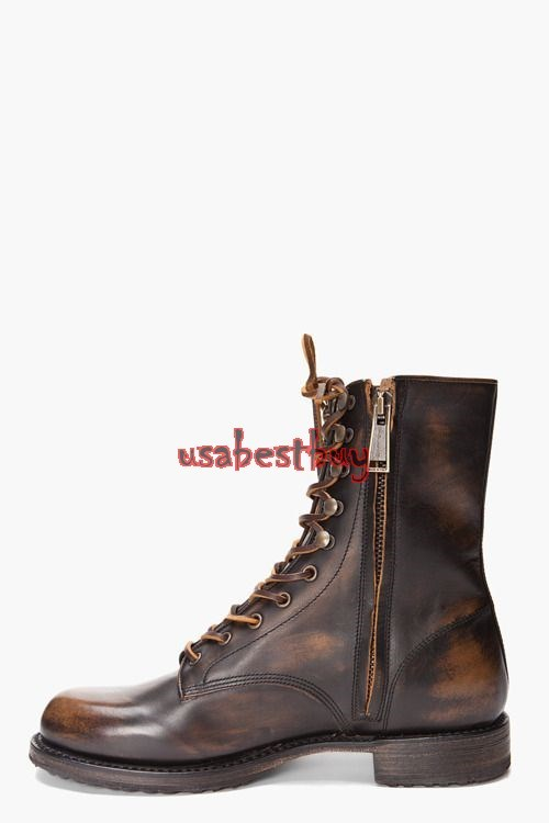 New Handmade Round Style Zipup and Laces Leather High Boots, Men leather boots