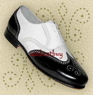 New Handmade Brogue Style Black & White Leather Shoes, Men leather shoes