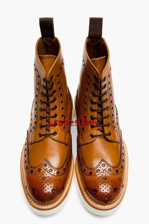 Custom Handmade Men Brogue Style Tan Real Leather Ankle Boots Buy online