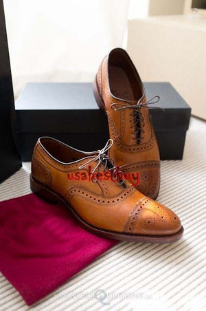 Custom Handmade Brogue Style Tan Genuine Leather Shoes, Men leather Shoe Laces