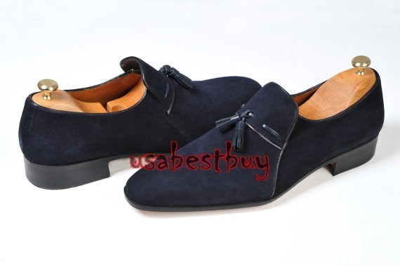 New Handmade Classic Simple Style Suede Leather Navy Blue Shoes, men shoes
