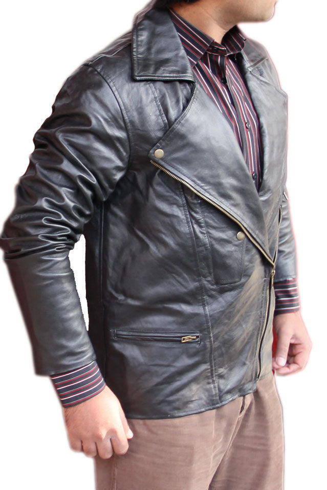Men Brando Style Black Leather Jacket