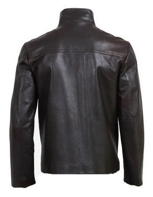 New Handmade Men Simple Style Black Leather Jacket, Leather jacket for men