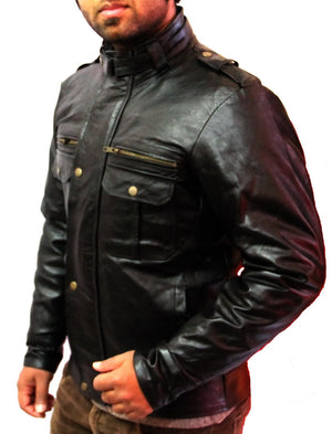 New Handmade Men Belted Collar Black Leather Jacket, Leather jacket for men