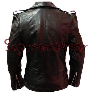 New Handmade Women Front Multi Zippers Leather Jacket, Women leather jacket, Lea
