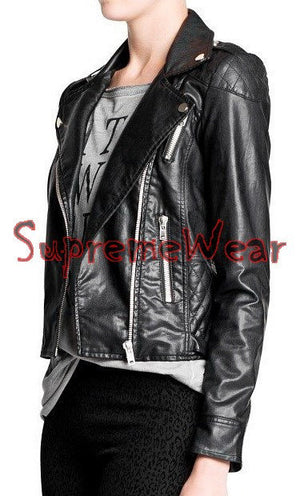 New Handmade Women Stylish Brando Slim Leather Jacket, Women leather jacket, Lea