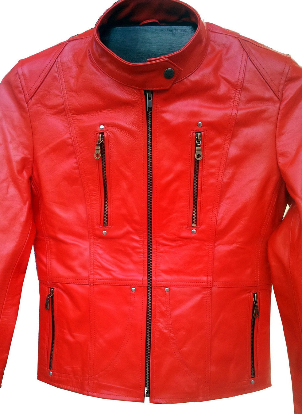 New Handmade Women Slim Fitted Red Leather Jacket