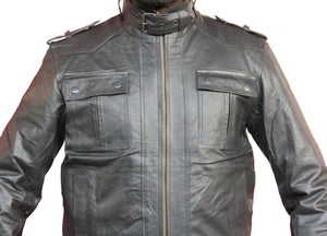 Handmade New Men Strap Pocket Stylish Slim Fit Leather Jacket, Leather jacket fo