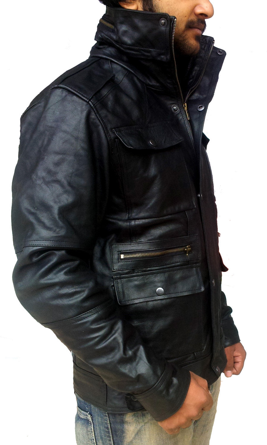 Handmade New Men Front Four Pockets Style Slim Fit Leather Jacket, Men leather j