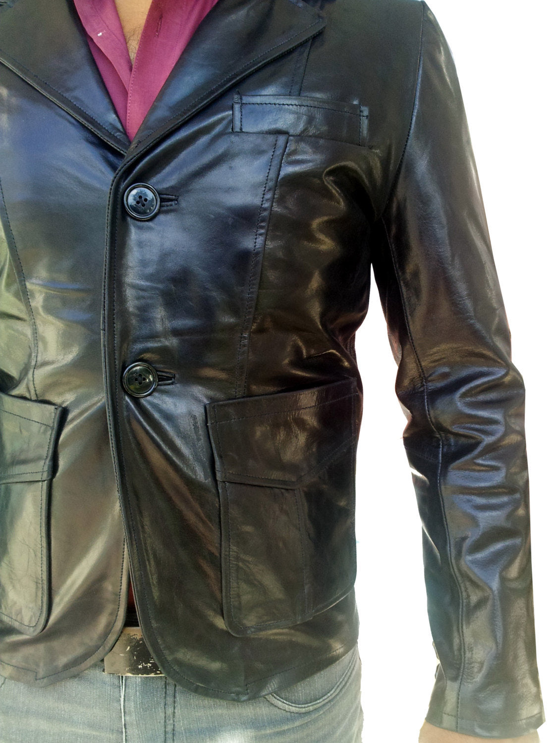 Handmade New Men Stylish Slim Fit Leather Blazer