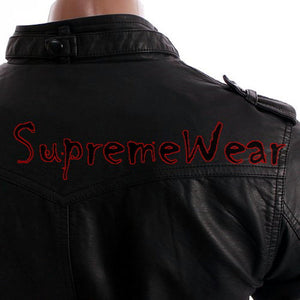 Handmade New Men Stylish Strap Pocket Superb Leather Jacket, Men leather jacket,