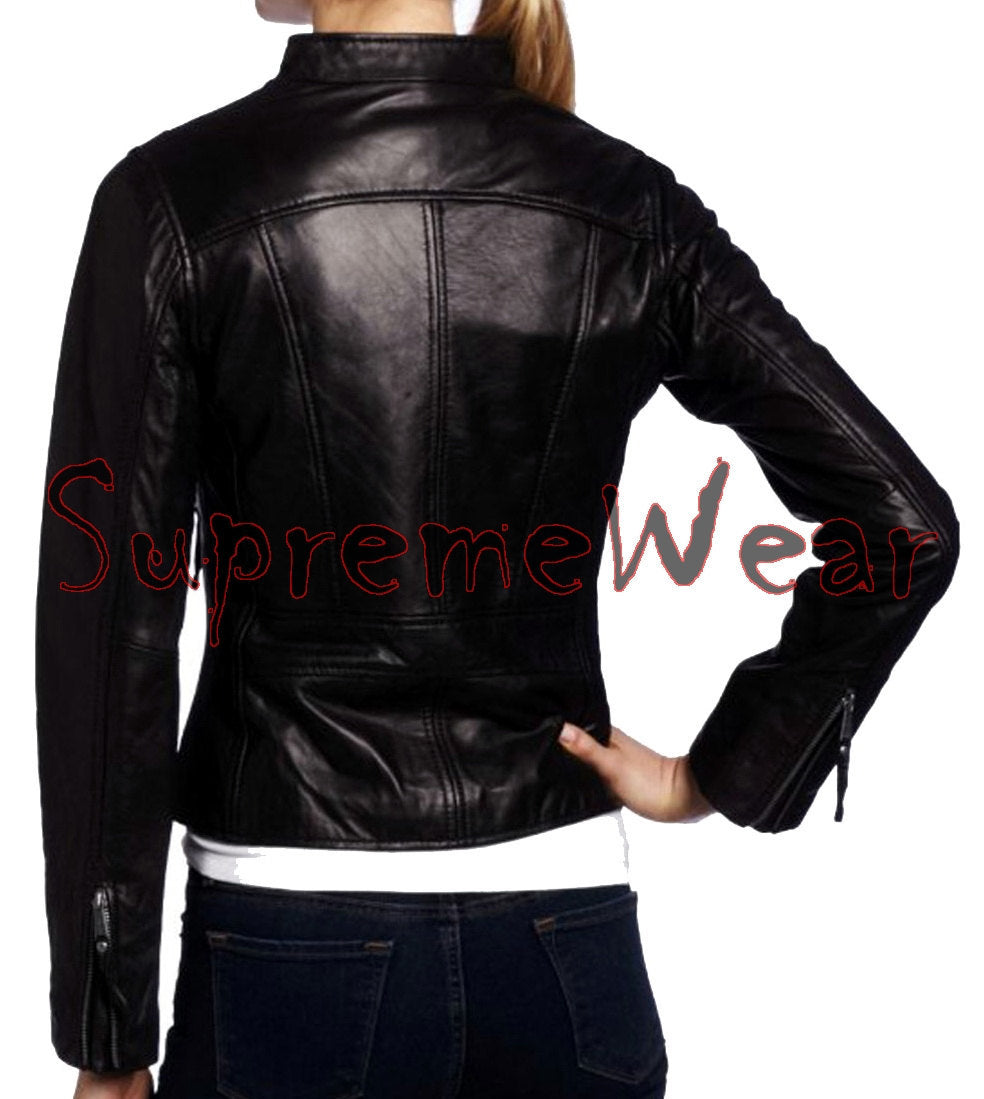 New Handmade Women Slim Fitted Chic Leather Jacket, Women leather jacket, Leathe