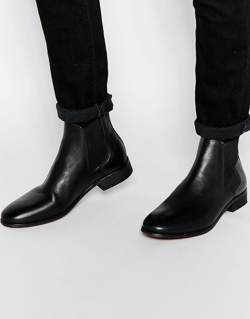 New Handmade Mens Black Simple Chelsea Real Leather Boots, Men leather boot
