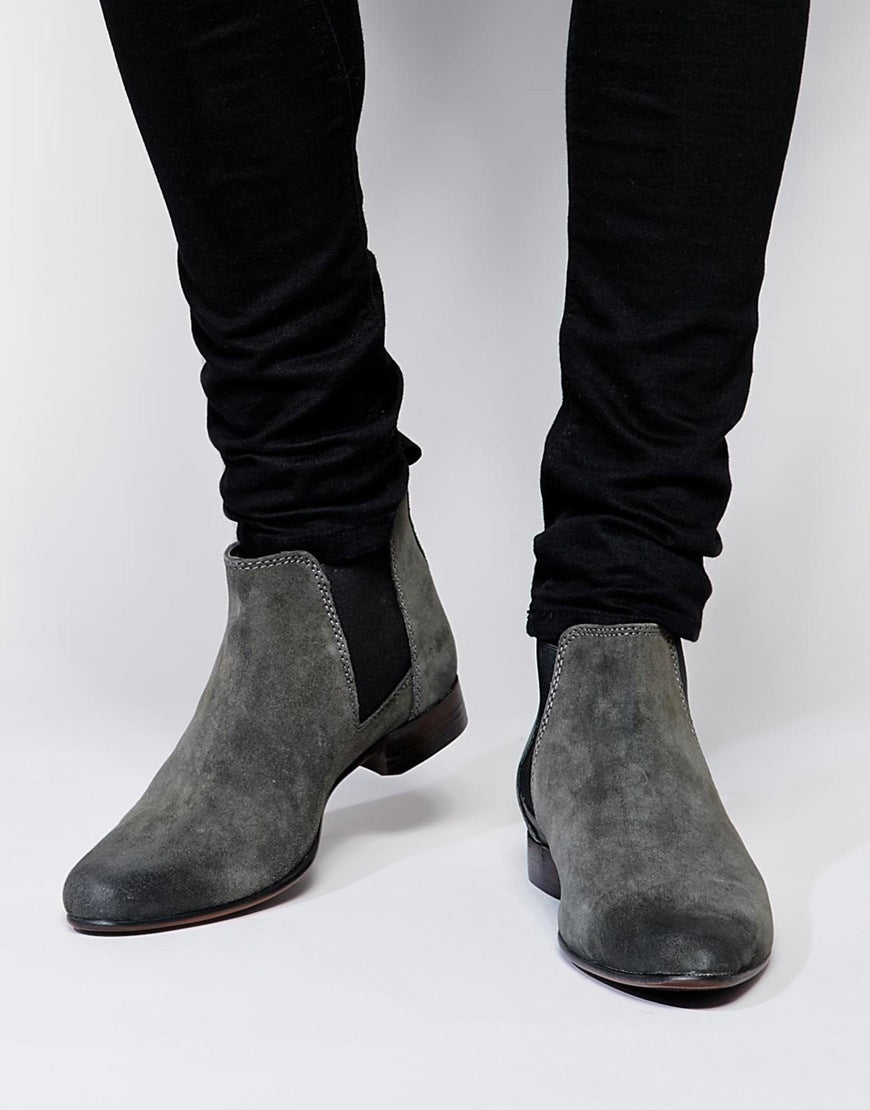 New Handmade Mens Grey Chelsea Suede Leather Boots,Men suede leather boot