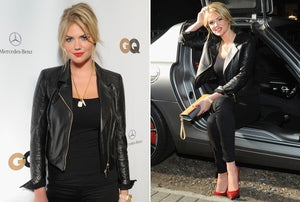 Handmade KATE UPTON FASHION LEATHER JACKET, WOMEN BLACK STYLISH LEATHER JACKET