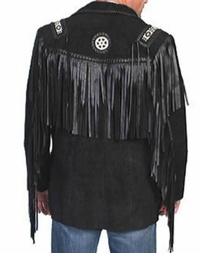New Men Black Suede Leather Western Classic Jacket With Fringe, Bone and Beads