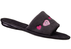 Embroidered Hearts Open Toe