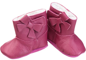 Baby Girls' Bootie with Bow - Cerise