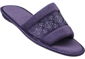 Ladies' Embroidered Open Toe Slipper - Medium Purple