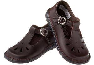 Ladies' T-Bar School Shoe - Brown