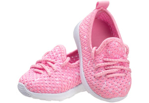 Pink Lace-up Trainer for baby girls
