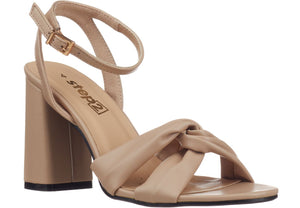 Block Heel Sandals in nude