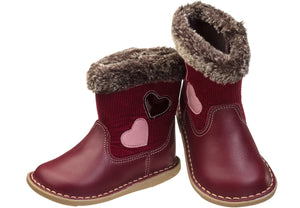 Infant Girls' Leather & Corduroy Fur Cuff Boot - Burgundy