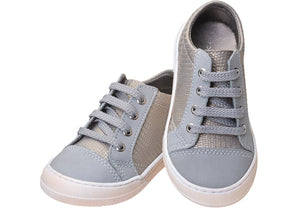 Girls' Leather Lace-up Sneaker - Grey