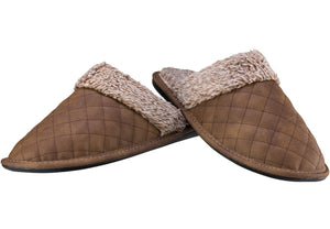 Men's Tan Quilted Mule