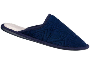 Navy Embroidered Velour Closed Toe