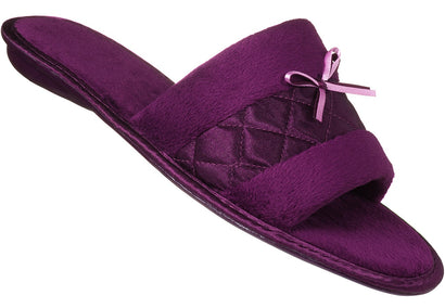 Burgundy Satin Fibre slipper for ladies