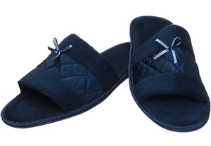 Navy Satin Fibre slipper for ladies
